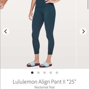 lululemon athletica Pants & Jumpsuits - ❌SOLD❌Nocturnal Teal Aligns 25""